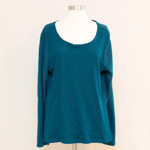 Loft Turquoise Scoop Neck Long Sleeve Top XL